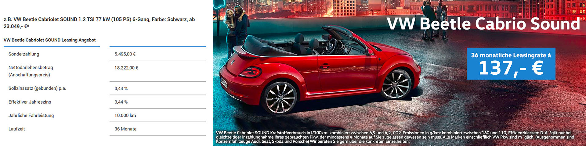 vw beetle cabrio sound konfigurator g nstige neuwagen. Black Bedroom Furniture Sets. Home Design Ideas
